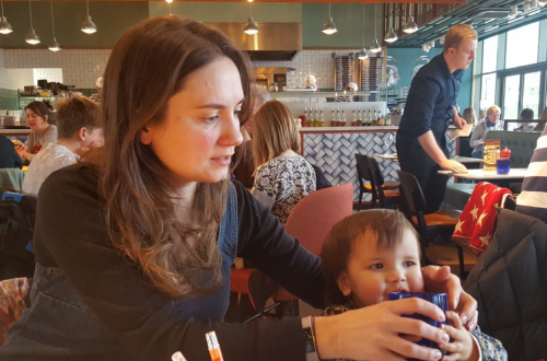 Helen and her daughter in a coffee shop
