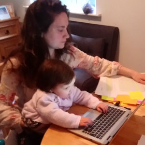 Working mothers have to look after their children at the same time often